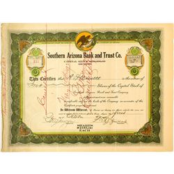 Rare Southern Arizona Bank and Trust Co. Stock Certificate
