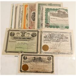 Thirteen Arizona Mining Company stock certificates