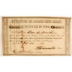 South-Western and Arkansas Mining Company Stock Certificate