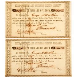 South-Western and Arkansas Mining Company Stock Certificates