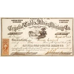Crystal Gold & Silver Mining Co. Stock Certificate, Silver Mountain, 1863