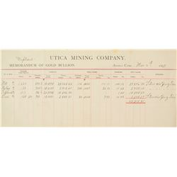 Utica Mining Co.  Gold Bullion Assay Document