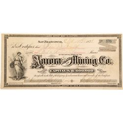 Aurora Tunnel and Mining Company Stock Certificate, Bodie, California