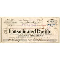 Consolidated Pacific Mining Company Stock Certificate, Bodie, California