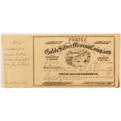 Porter G& S MC Stock Certificate, 1864, Butte County, California