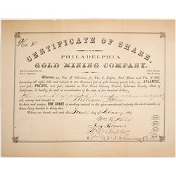 Certificate of Share for the Philadelphia Gold Mining Company