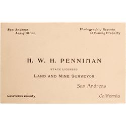 Assay and Land Surveyor Business Card, San Andreas, CA