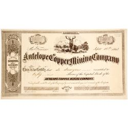 Antelope Copper Mining Co. Stock Certificate, Del Norte County, CA, 1863