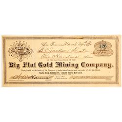 Big Flat Gold Mining Company Stock Certificate, Del Norte Co., CA 1880