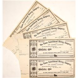 United Consolidated Mining Co. of Cerro Gordo Stock Certificate Sheets (Inyo County, California)
