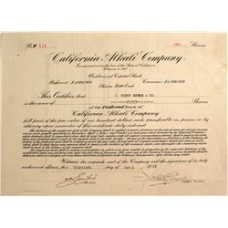 California Alkali Stock Certificate, Keeler,  Inyo County, Cal. 1918