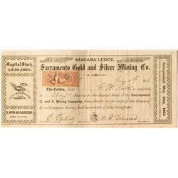 Sacramento Gold & Silver Mining Company 1863 Stock Certificate, Alpine County, California