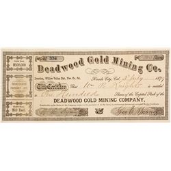 Deadwood Gold Mining Company Stock Certificate