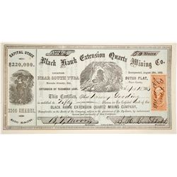 Black Hawk Extension Quartz Mining Co. Stock Certificate, Nevada Co., 1863