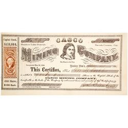 Casco Mining Company Stock Certificate, Meadow Lake, 1866