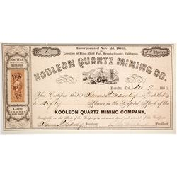 Koolean Quartz Mining Co. Stock Certificate, Gold Flat, 1863