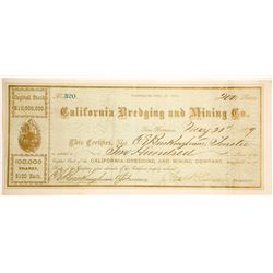 California Dredging & Mining Company Stock Certificate