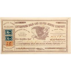 Enterprise Gold & Silver Mining Co. Stock Certificate, El Dorado County, California, 1866