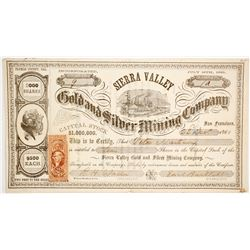 Sierra Valley Gold & Silver Mining Co. Stock Certificate, Plumas County, California, 1863