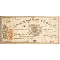 Spread Eagle Copper Mining Co. Stock Certificate, Saginaw District, Sacramento County, CA, 1863