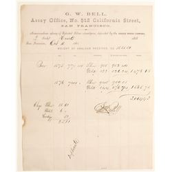 G.W. Bell Assay Office Memorandum, Savage Mine, Hunts Mill, 1863