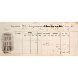 Kellogg, Hewston & Co. Gold Bullion Memorandum, 1860