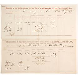 Two Different S. Molitor & Co. Assay Receipts, 1860 & 1863
