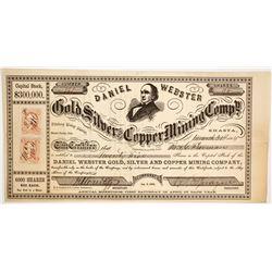 Daniel Webster Gold & Silver & Copper Mining Co. Stock, Shasta County, California, 1864