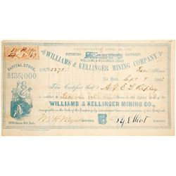 Williams & Kellinger Mining Co. Stock Certificate, Shasta County, 1863