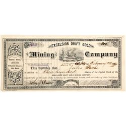 Excelsior Drift Gold Mining Company Stock Certificate, Sierra City, 1891