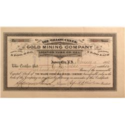 Willow Creek Gold Mining Co. Stock Certificate, Yuba County, California, 1882