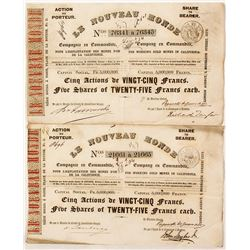 1850s Le Nouveau Monde Stock Certificate Pair, California Gold Rush