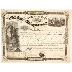 South Clear Creek Gold & Silver Mining Co. Stock Certificate, 1865, Territorial