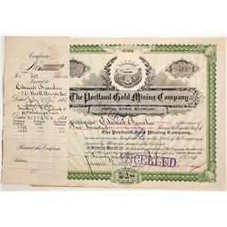 Portland Gold Mining Co. Stock signed by James Burns