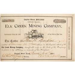 Elk Creek Mining Co. Stock Certificate, 1881