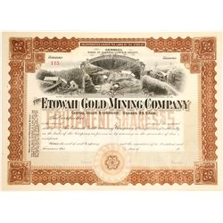 Brown Etowah Gold Mining Company Stock Certificate