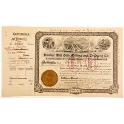 Bunker Hill Gold Mining and Dredging Co. Stock Certificate