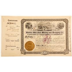 Bunker Hill Gold Mining and Dredging Co. Stock Certificate.