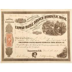 Etowah & Battle Branch Hydraulic Hose Mining Company Stock Certificate