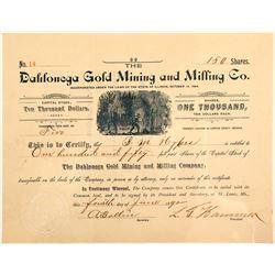 Dahlonega Gold Mining & Milling Company Stock Certificate