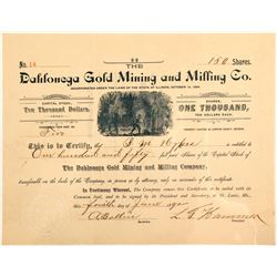 Dahlonega Gold Mining & Milling Company Stock Certificate