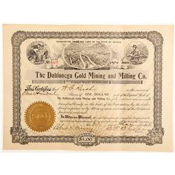 Dahlonega Gold Mining & Milling Company Stock Certificate 2