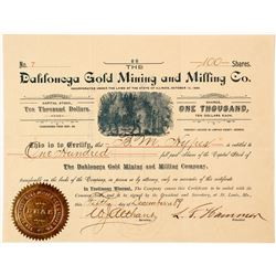 Dahlonega Gold Mining & Milling Company Stock Certificate 3