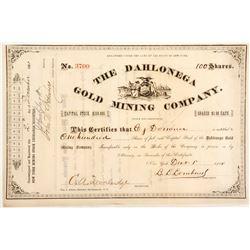 Dahlonega Gold Mining Company Stock Certificate 2