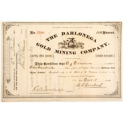 Dahlonega Gold Mining Company Stock Certificate 2