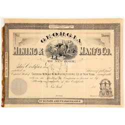 Georgia Mining & Mfg Company Founders Stock Certificate