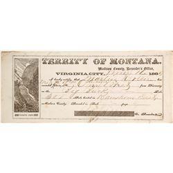 Virginia City, Montana Territory Mining Claim Document, 1865