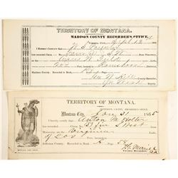 Two 1860s Montana Territory Mining Claim Documents