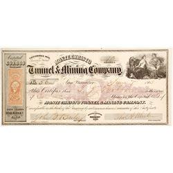 Monte Christo Tunnel & Mining Co. Stock Certificate, Aurora, 1863