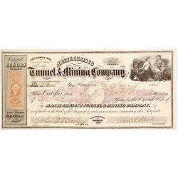 Monte Christo Tunnel & Mining Co. Stock Certificate, Aurora, 1863